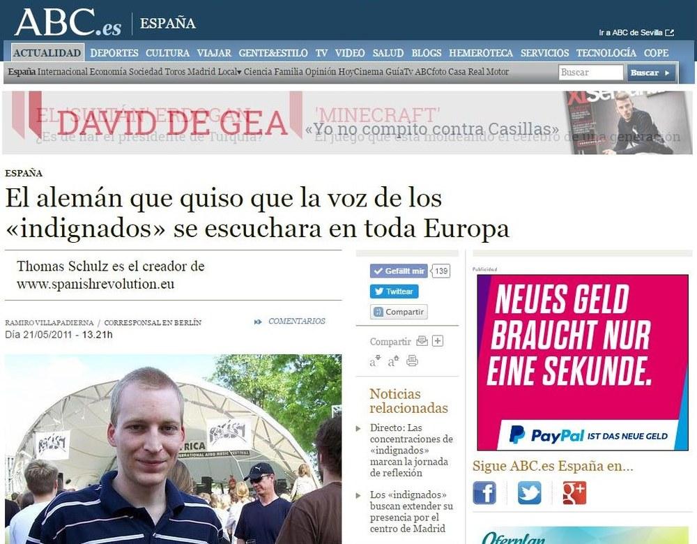 """ABC.es – El alemán que quiso que la voz de los """"indignados"""" se escuchara en toda Europa"""