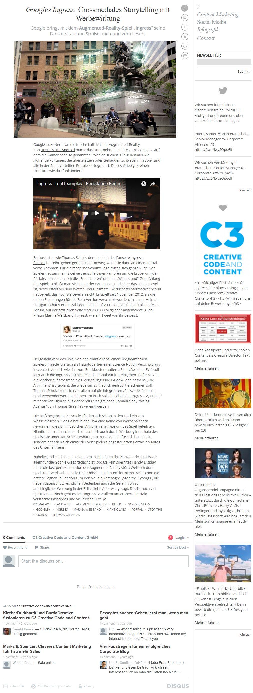 Googles Ingress: Crossmediales Storytelling mit Werbewirkung